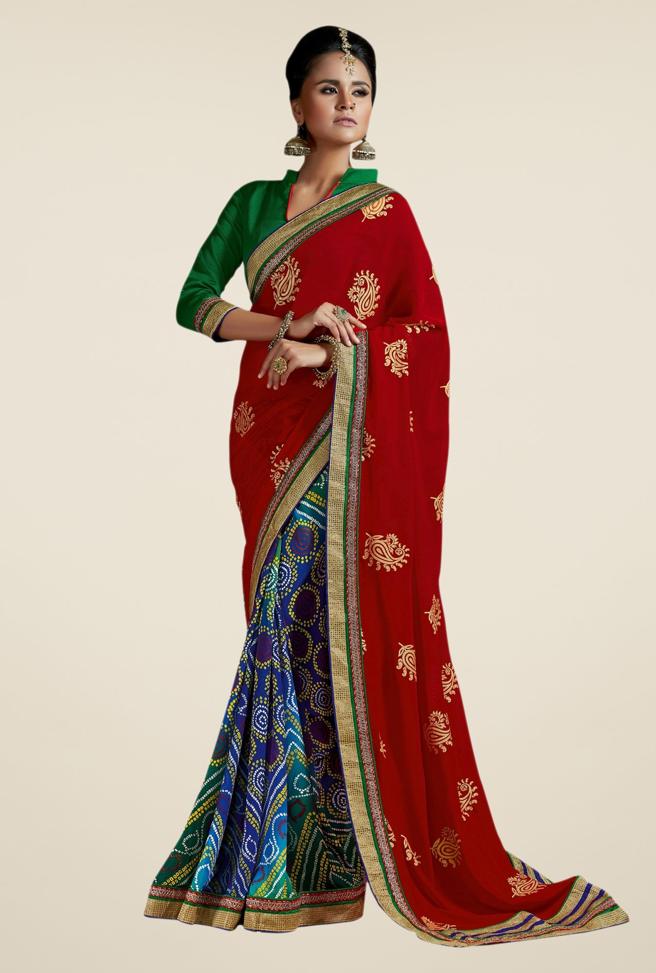 Triveni Admirable Blue & Red Faux Georgette Saree