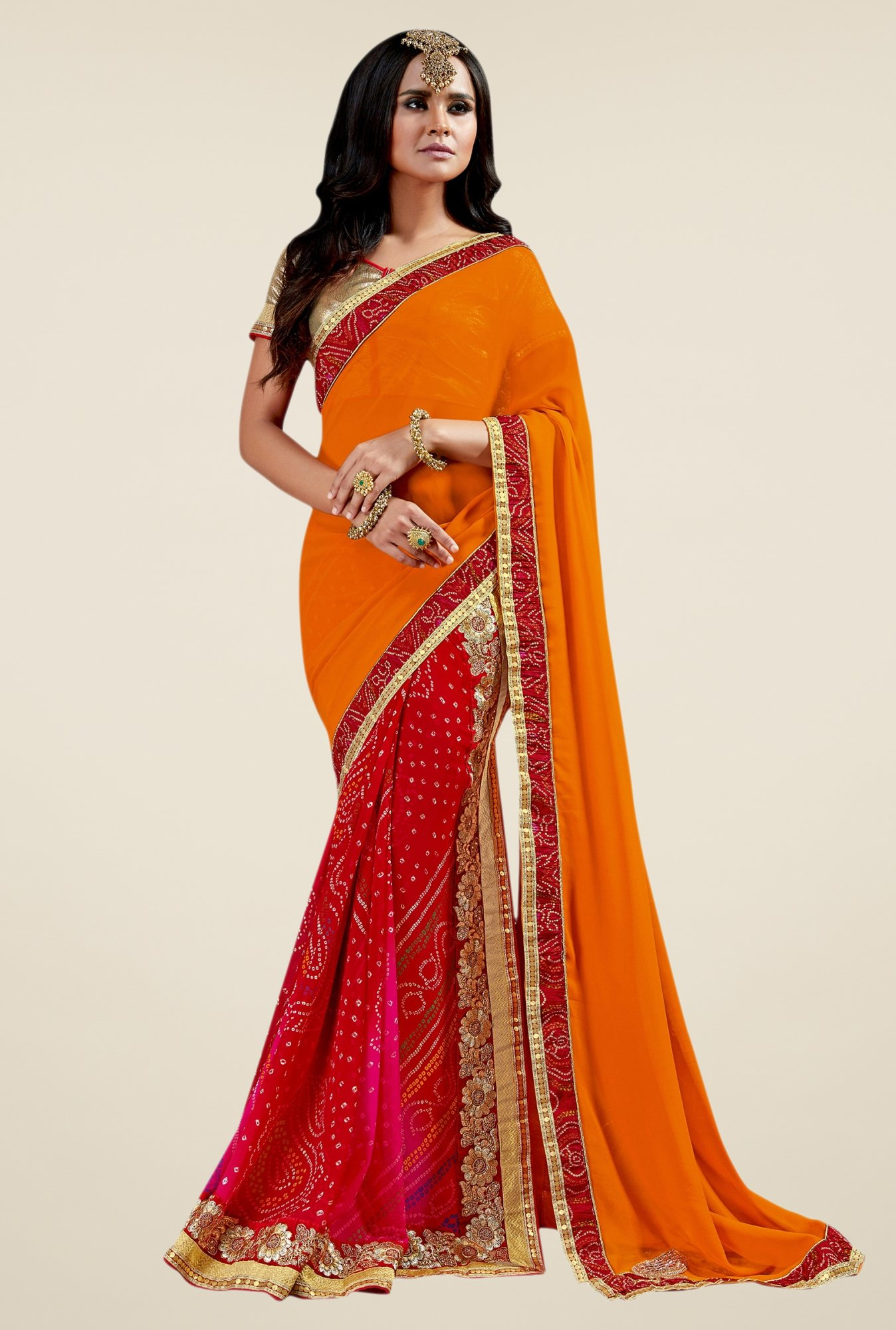 Triveni Astounding Red & Orange Faux Georgette Saree