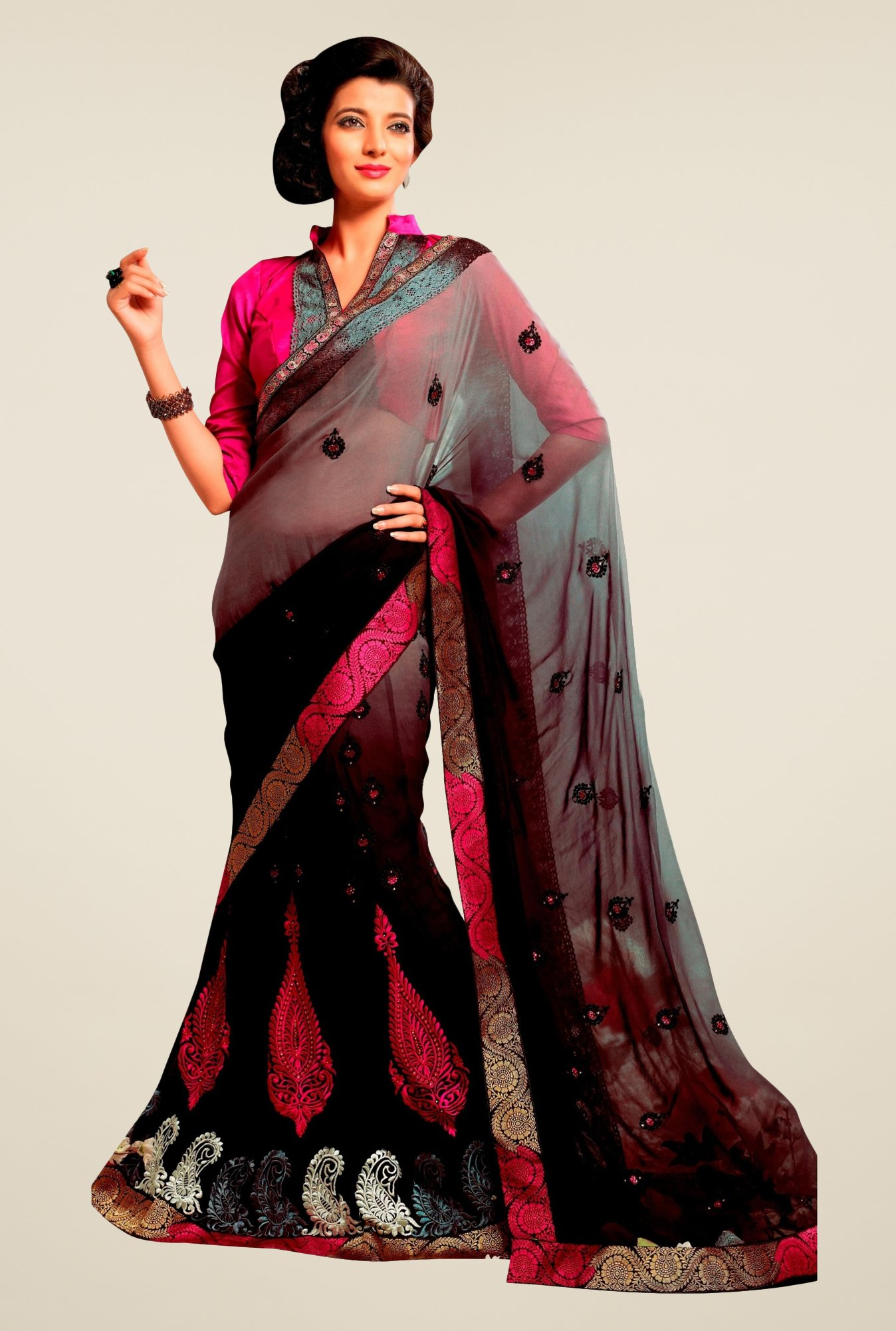 Triveni Glamorous Black & Grey Faux Georgette Lehenga Saree