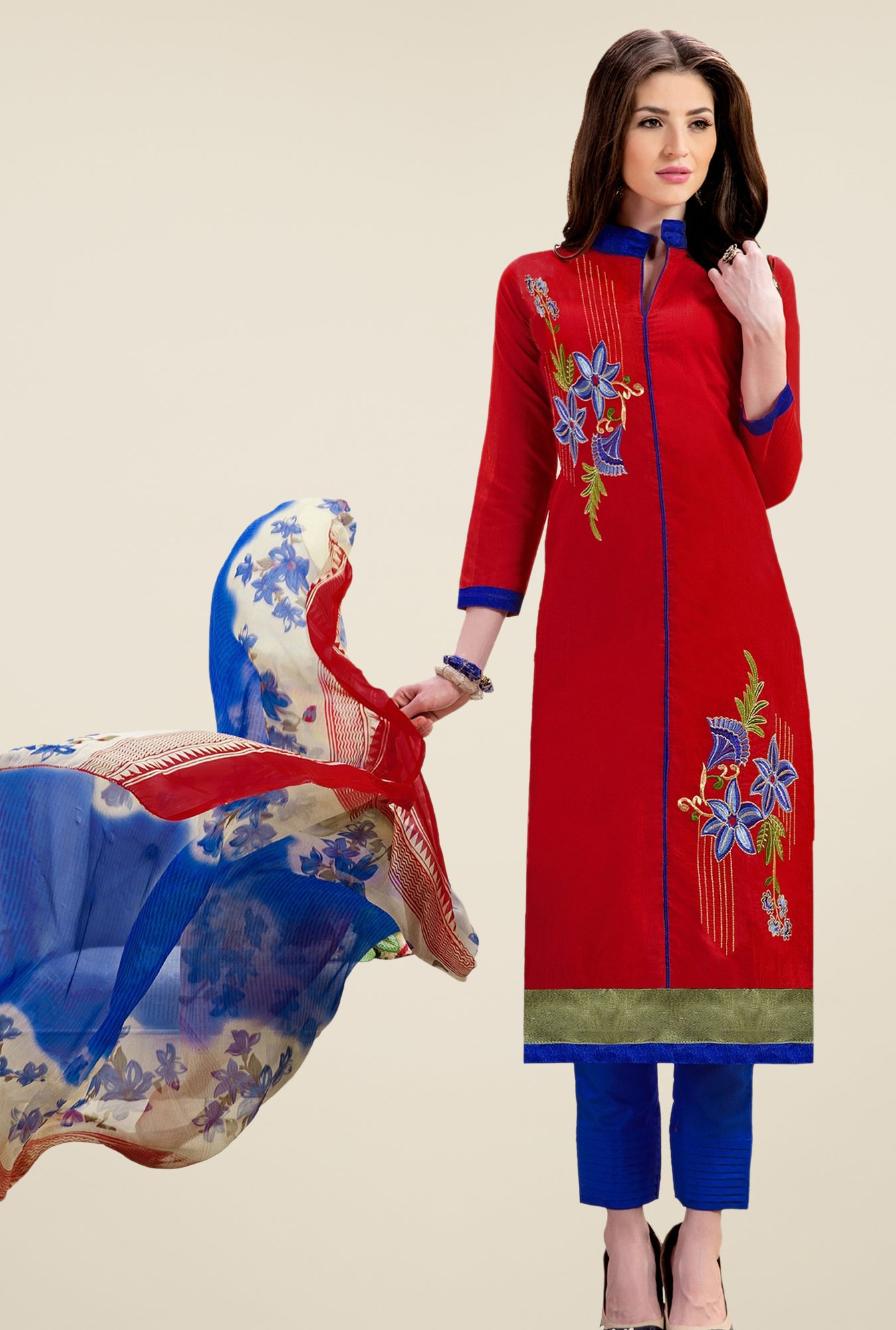 Triveni Fanciful Red & Blue Chanderi Cotton Dress Material