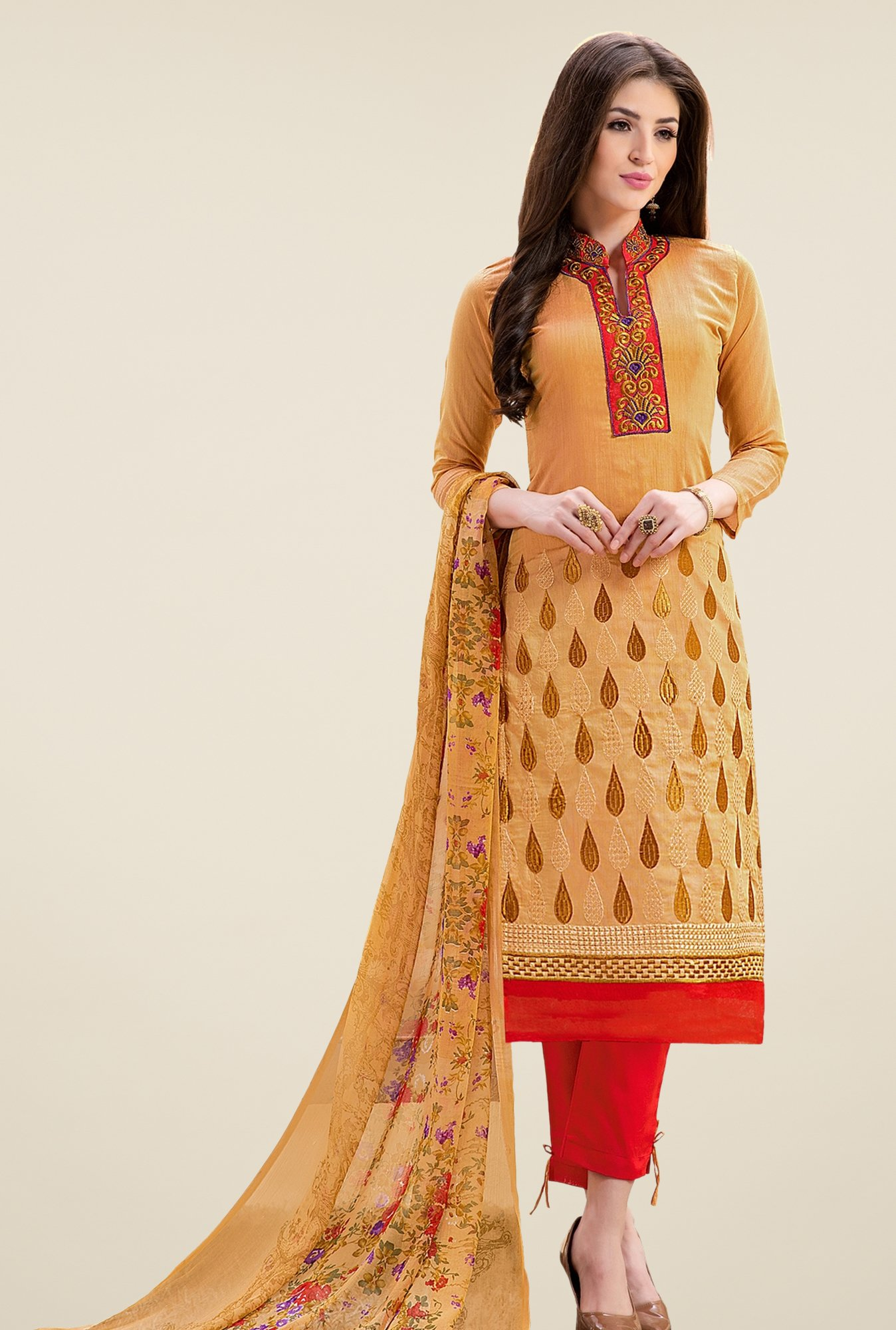 Triveni Amiable Yellow & Red Chanderi Cotton Dress Material