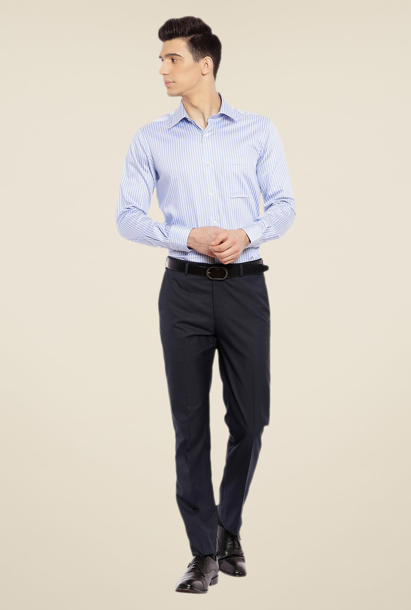 Raymond Dark Blue Textured Trouser