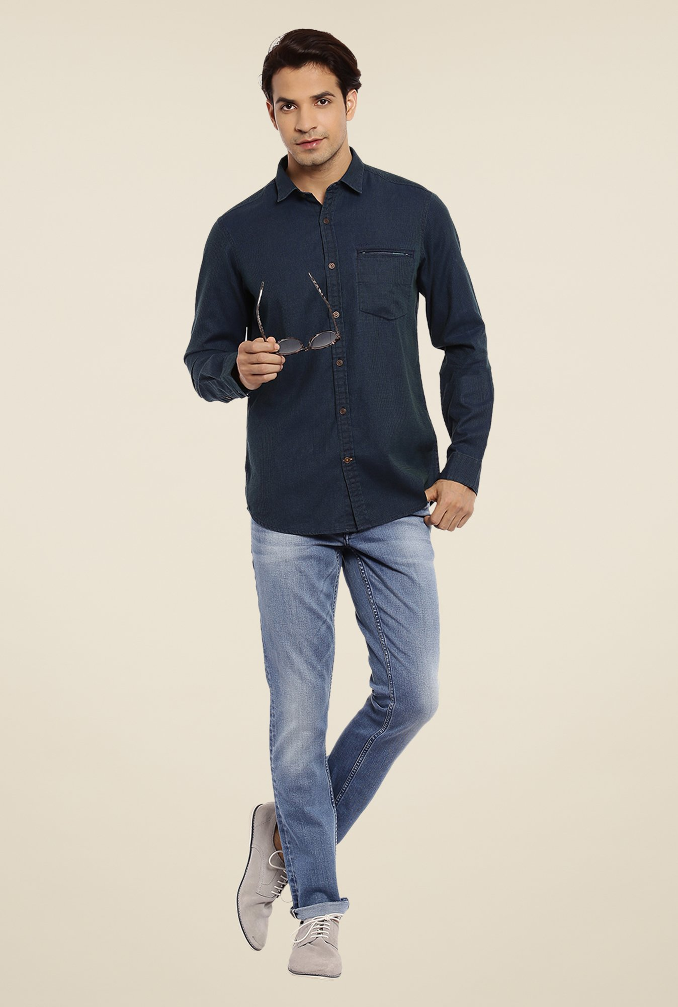 ColorPlus Navy Self Print Shirt