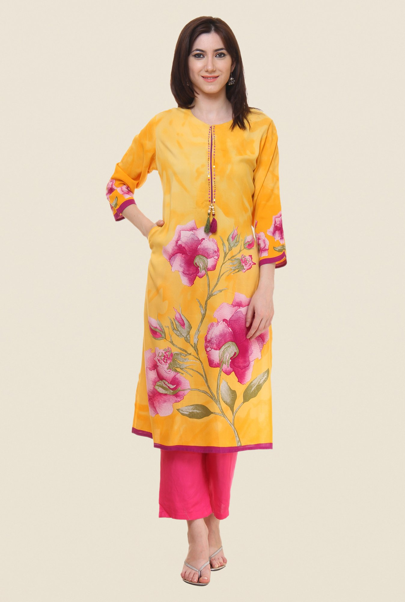 Shree Yellow Floral Print Kurta