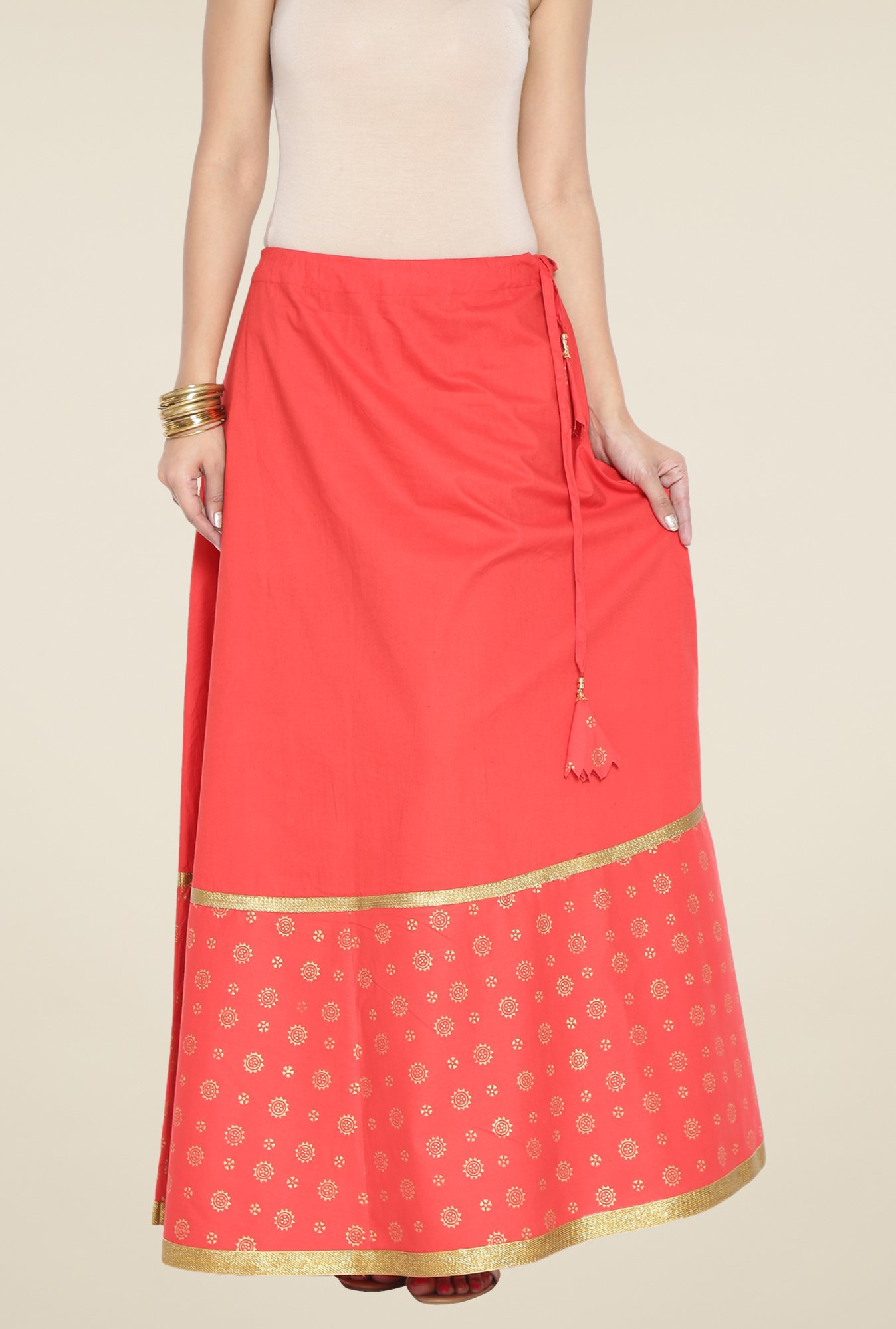 9rasa Red Block Print Flared Skirt
