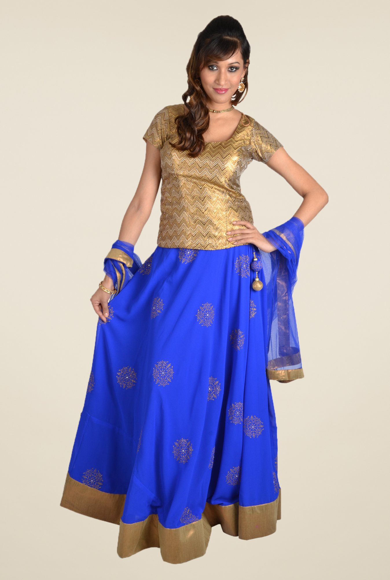 9rasa Blue Printed A Line Skirt