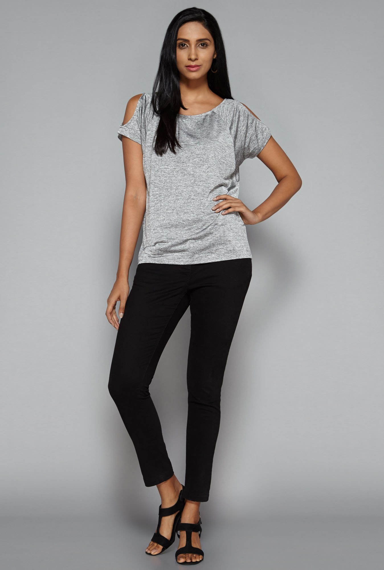 LOV by Westside Grey Goldy Top