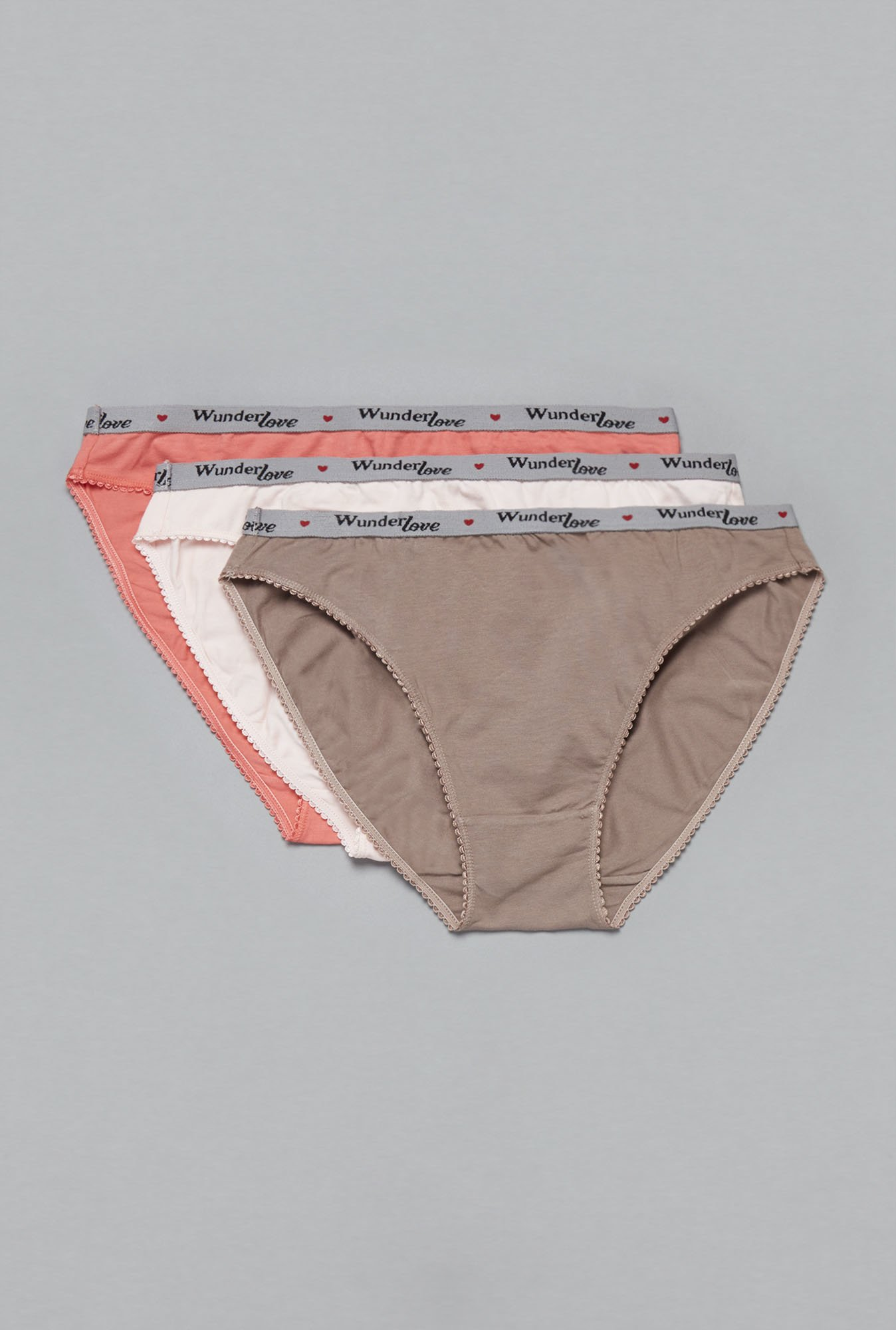 Wunderlove by Westside Taupe, Cream, Coral Brief (Pack Of 3)