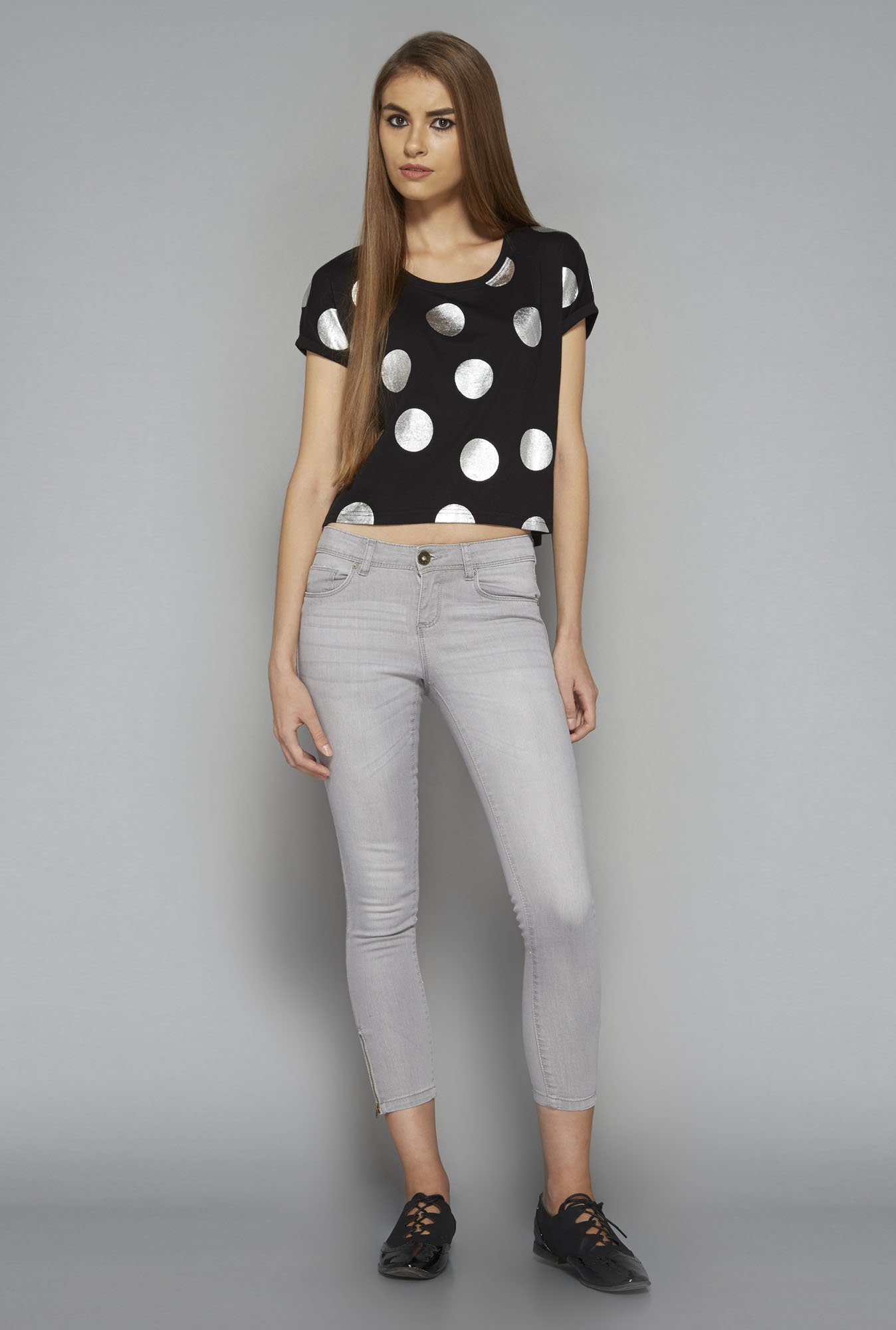 Nuon by Westside Black Polka Dot T Shirt