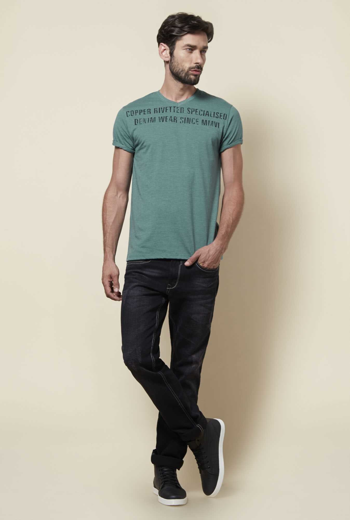 Zudio Green Regular Fit T Shirt
