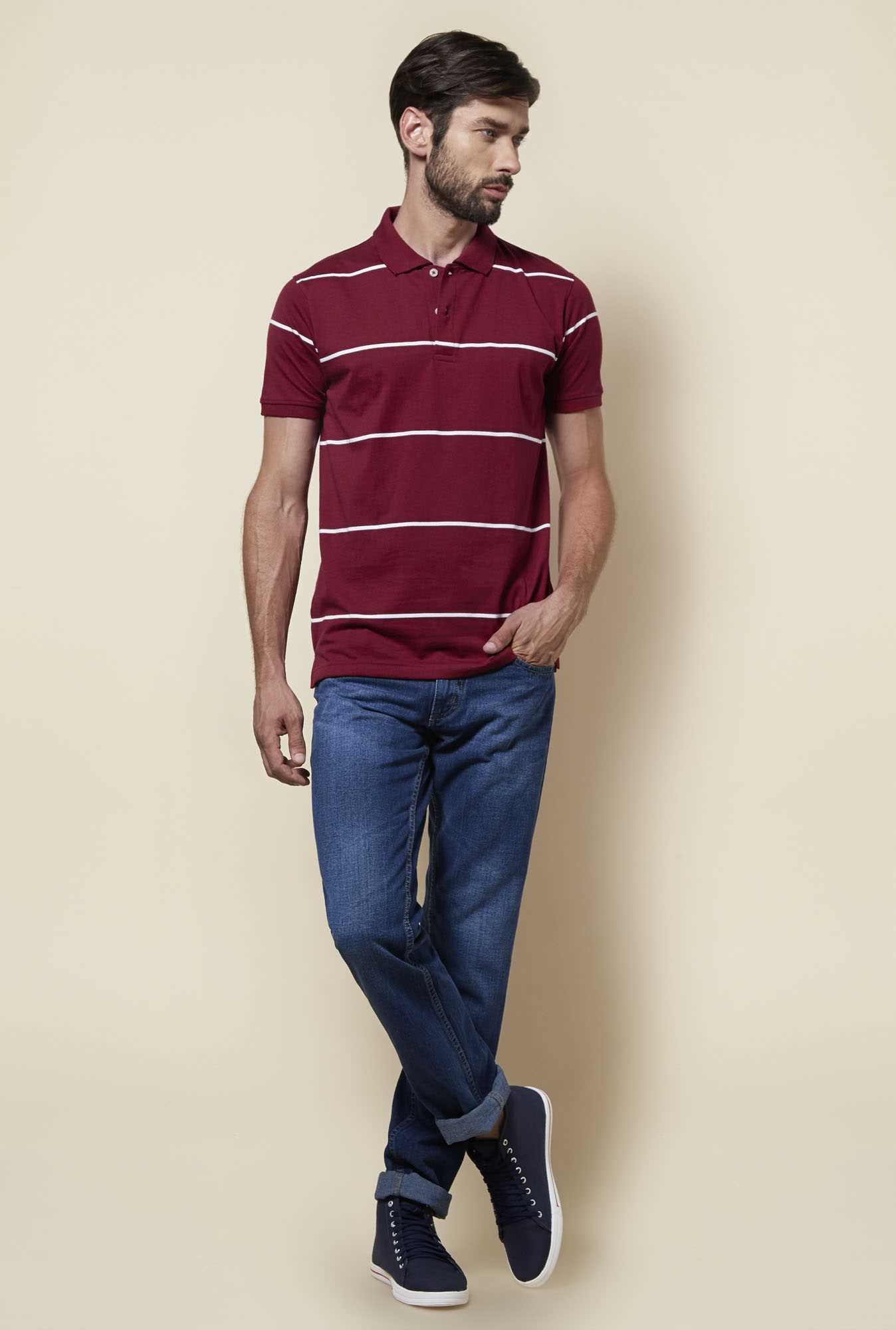 Zudio Maroon Polo T Shirt