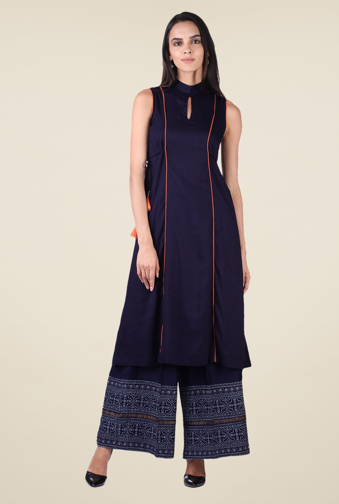 9rasa Navy Solid Kurta Set