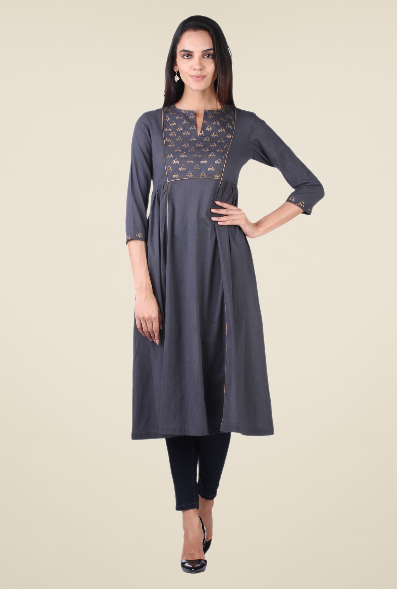 9rasa Dark Grey Block Print Side Gathered Kurta