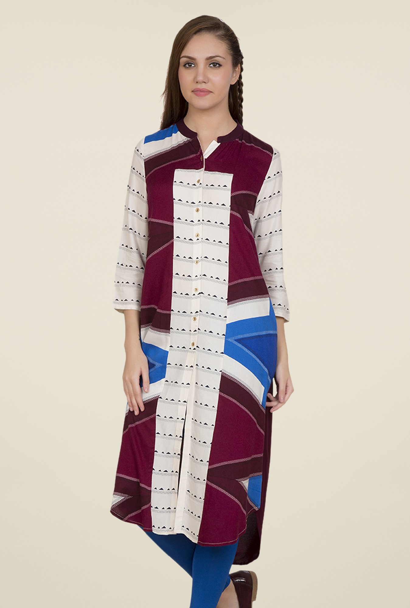 Desi Belle Off White & Purple Printed Kurti