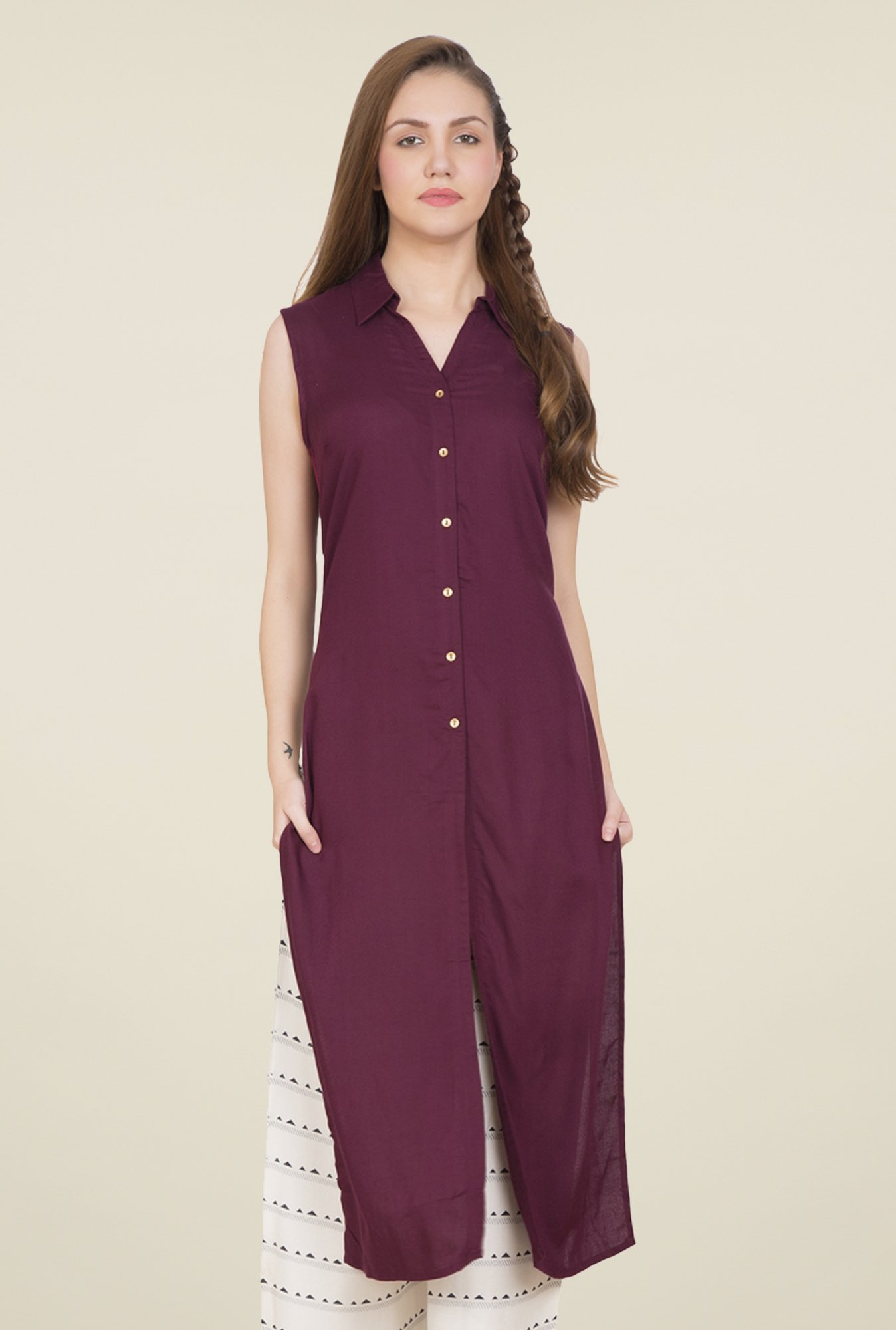 Desi Belle Purple Solid Kurti