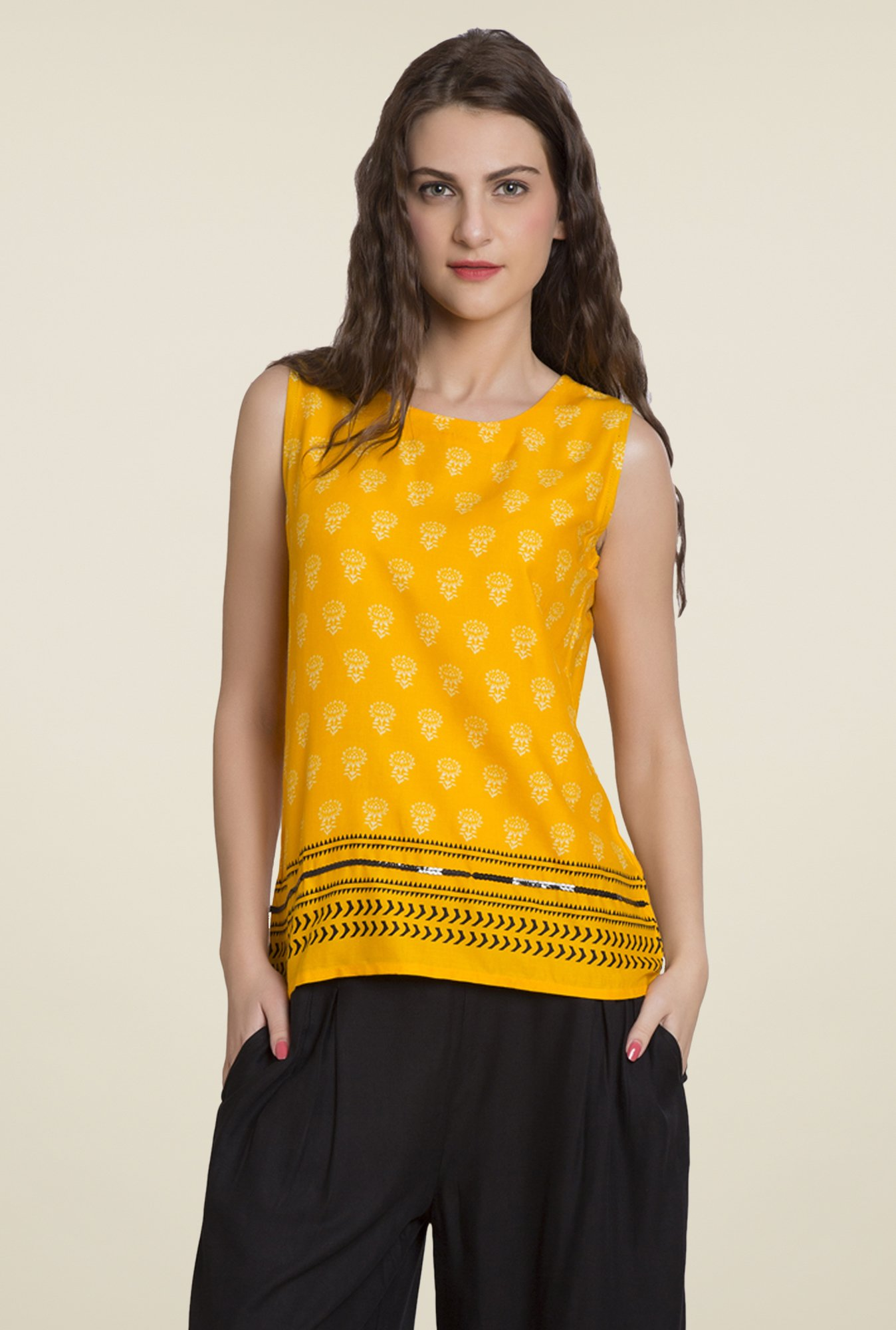 Desi Belle Yellow Printed Top