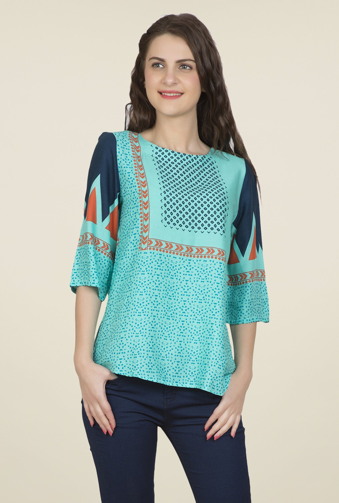 Desi Belle Turquoise Printed Top