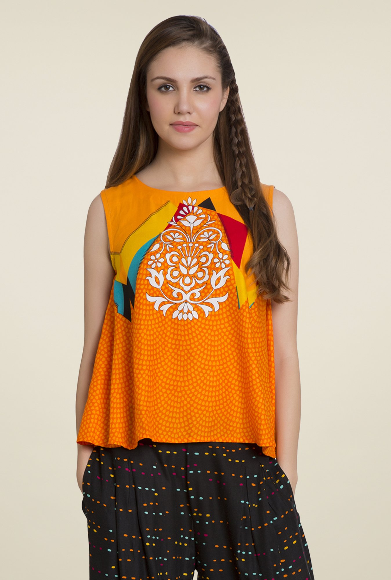 Desi Belle Orange Printed Top