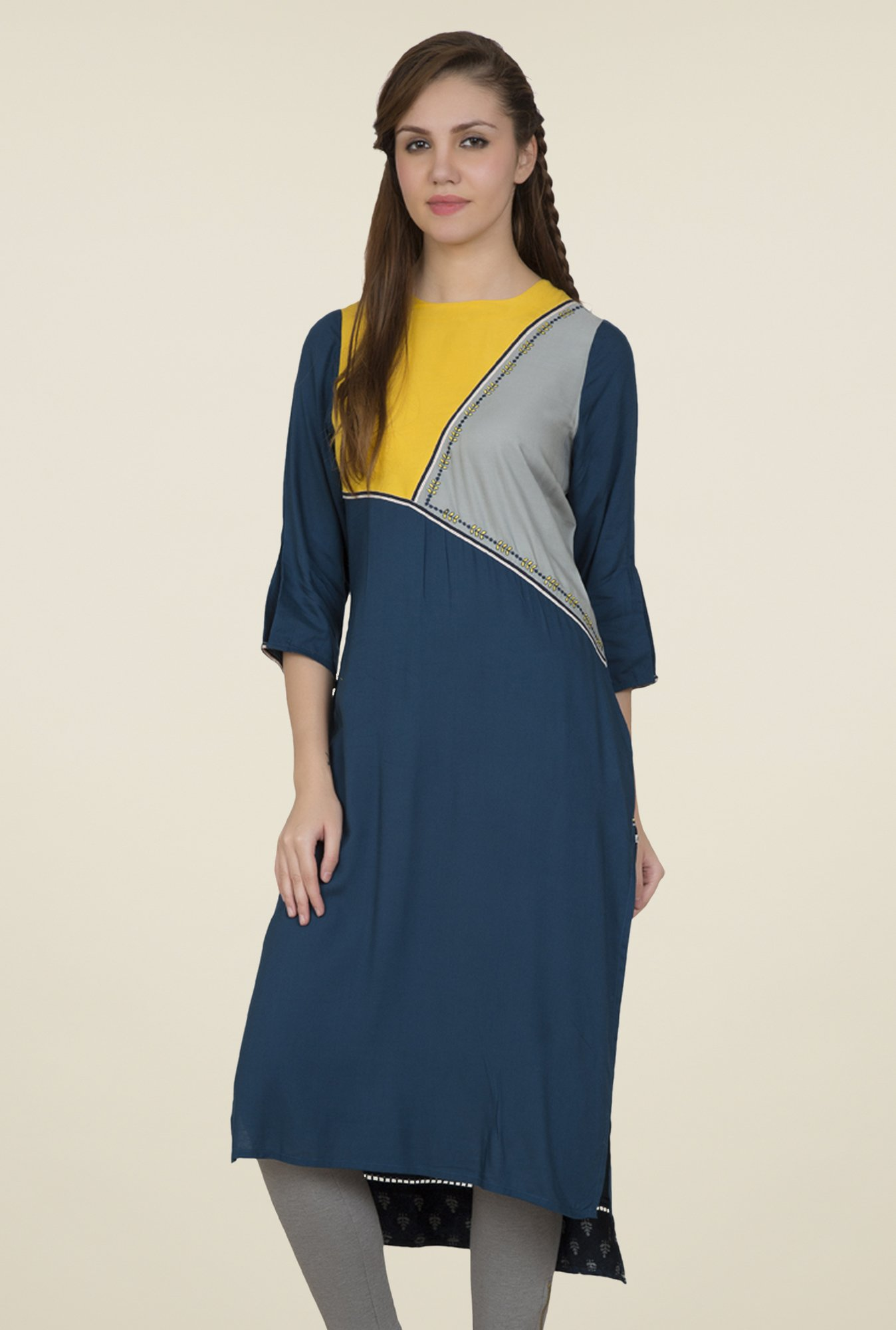 Desi Belle Blue Embroidered Kurti