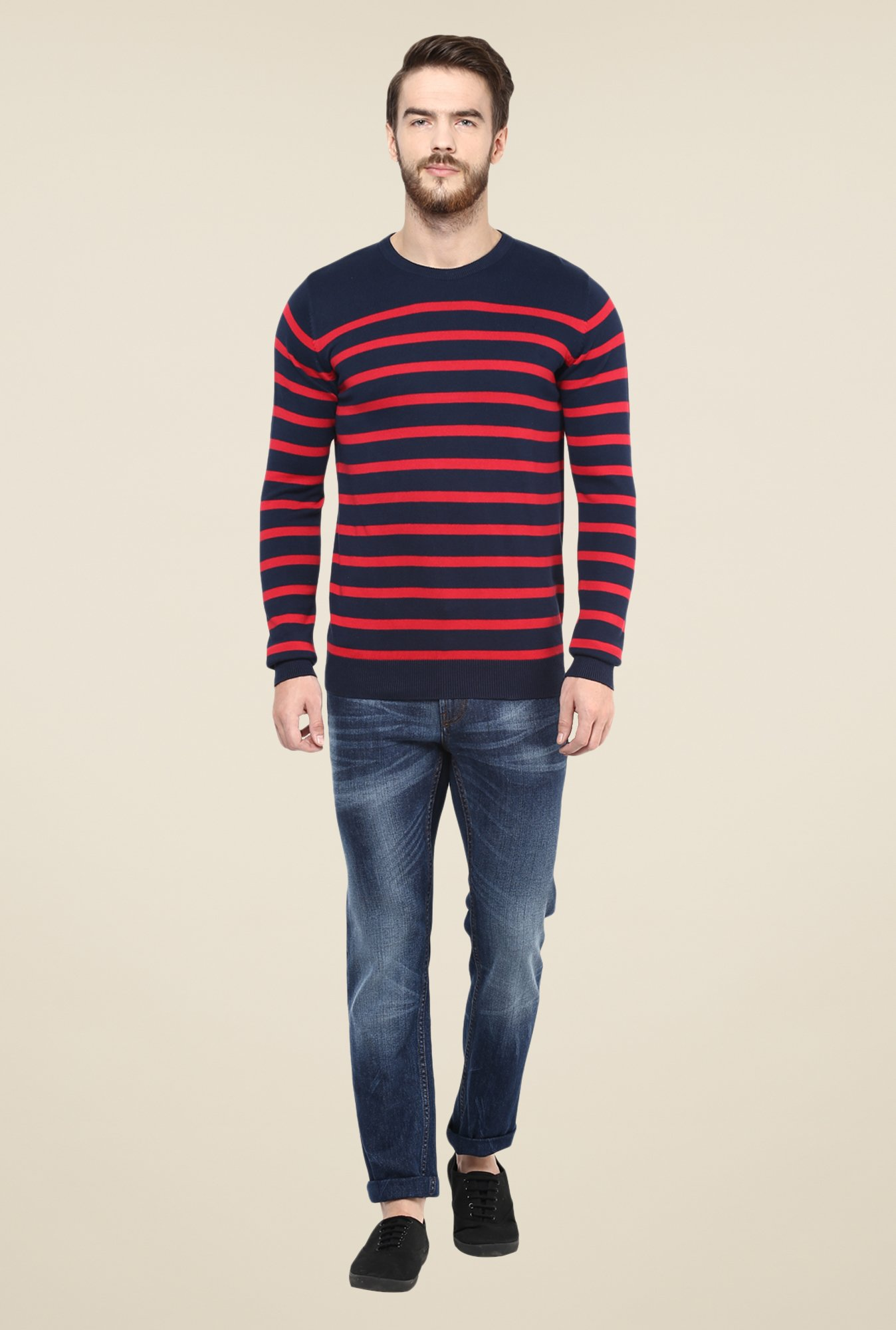 celio* Navy & Red Striped Sweater