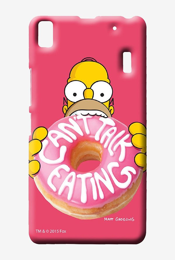 Simpsons Cant Talk Eating Pink Case for Lenovo A7000