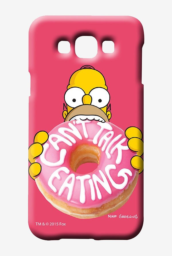 Simpsons Cant Talk Eating Pink Case for Samsung Galaxy E7
