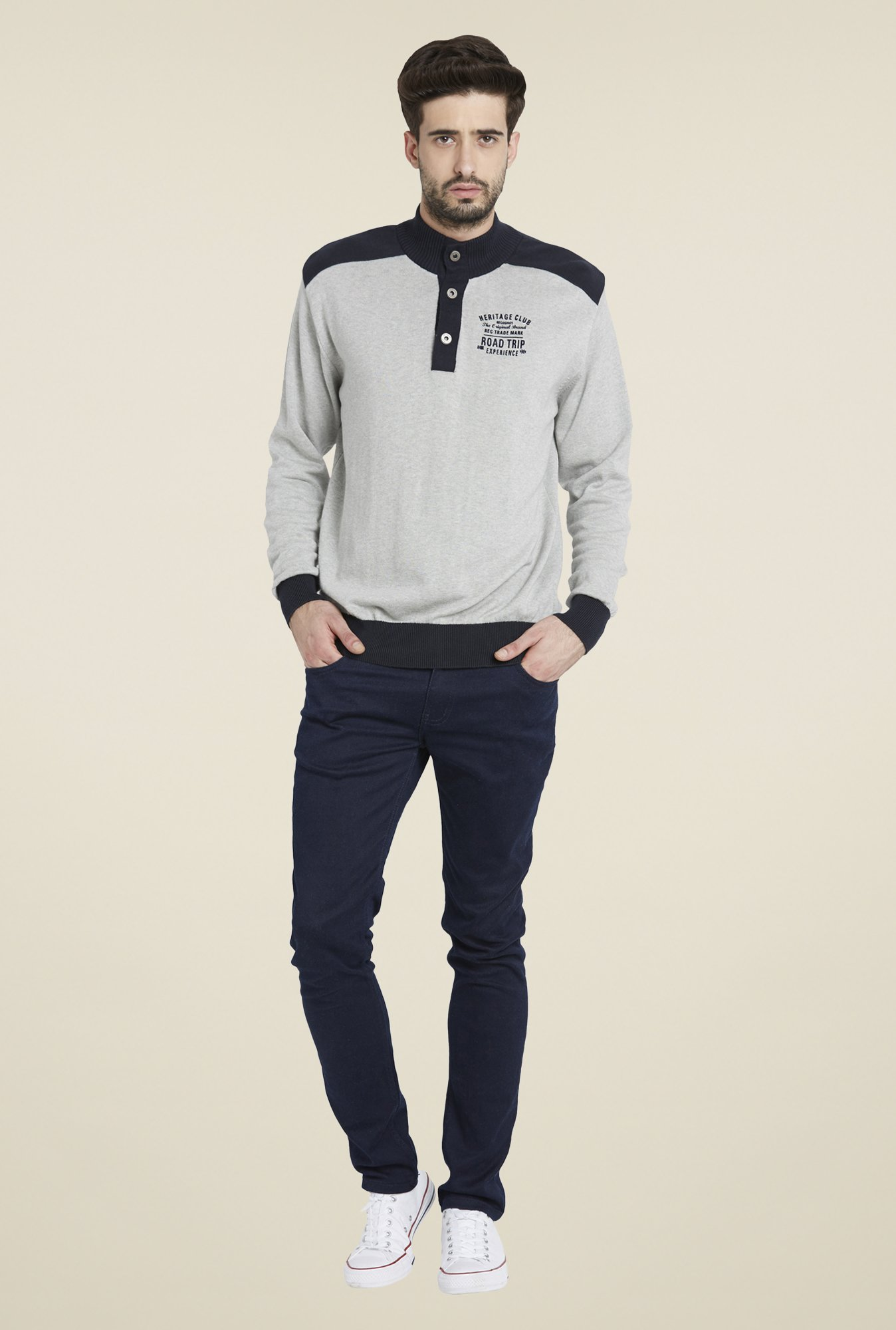 Globus Light Grey Solid Pullover