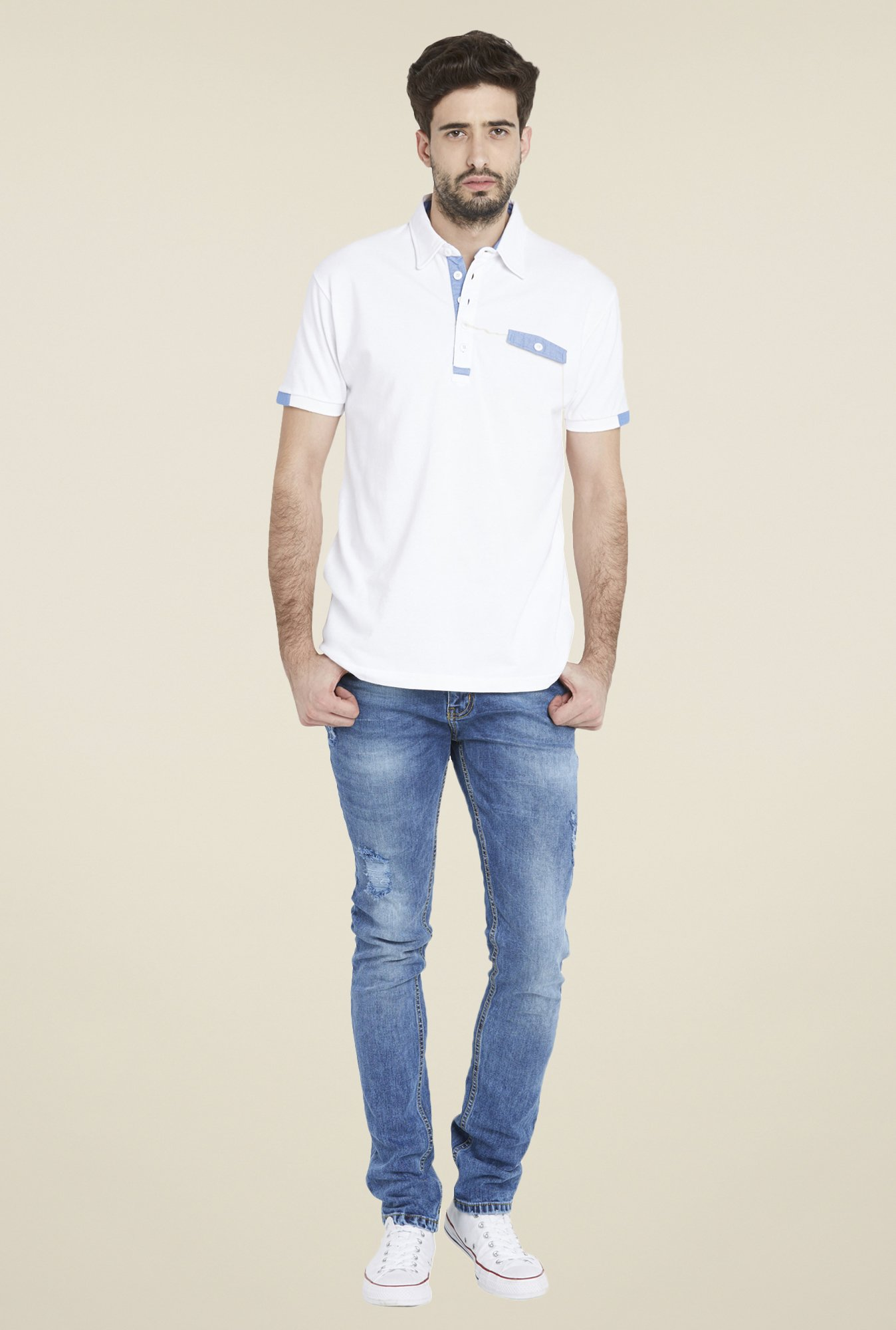 Globus White Trendy Solid Short Sleeve T Shirt
