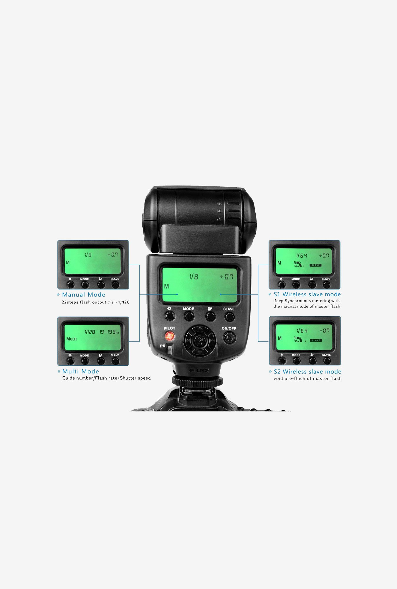 CameraPlus CPM580 2.1 LCD Display Speedlite Flash (Black)