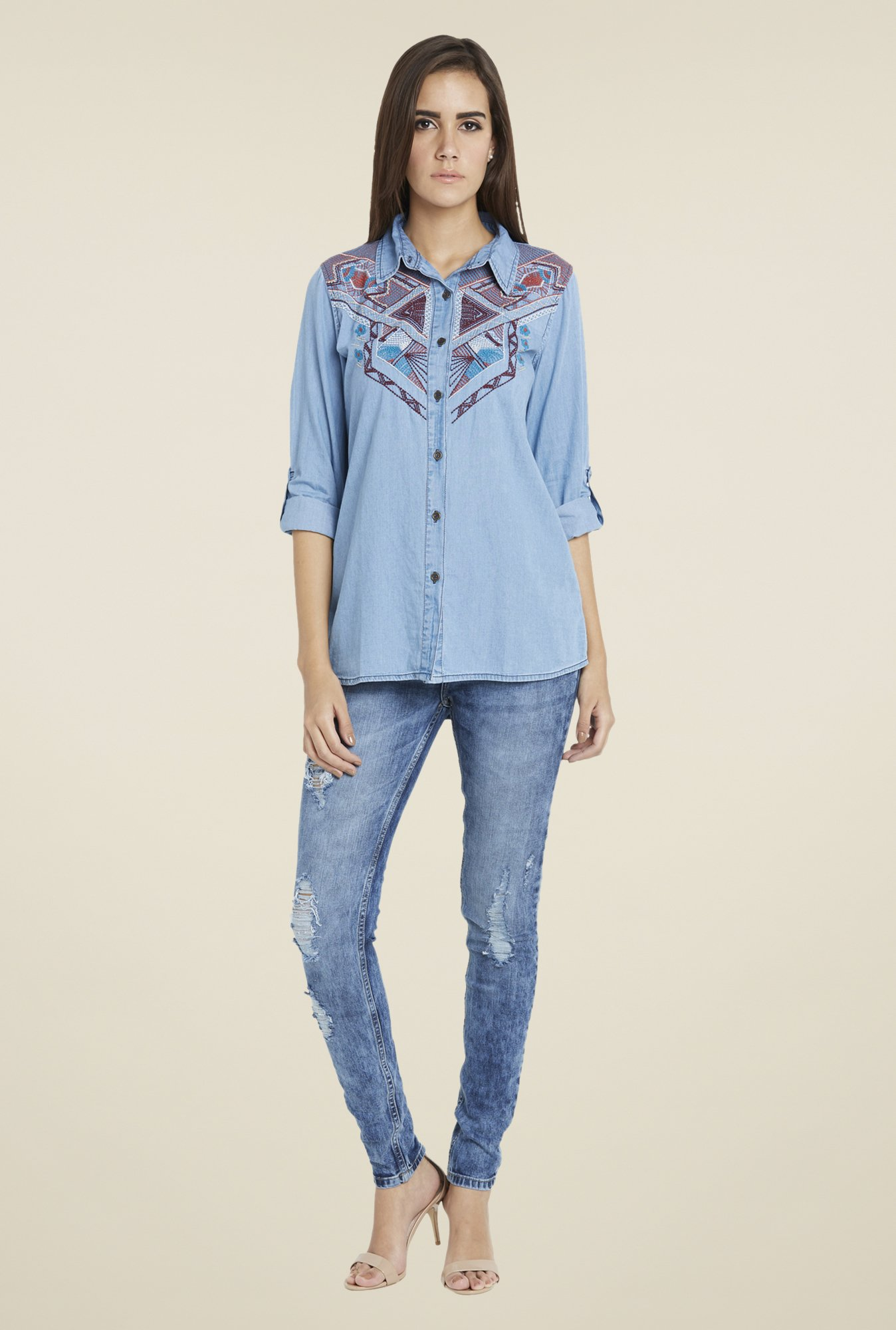 Globus Blue Embroidered Shirt