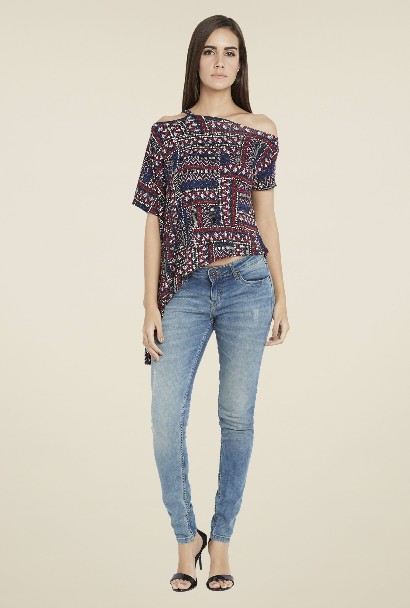 Globus Multicolor Abstract Print Top