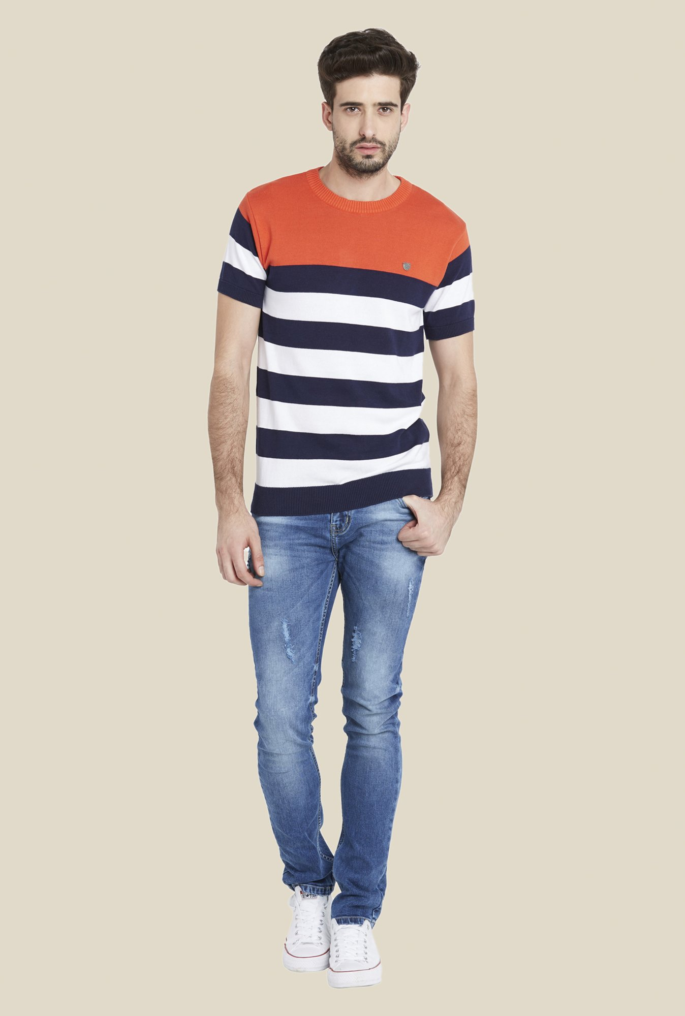 Globus Multicolor Striped Crew T Shirt