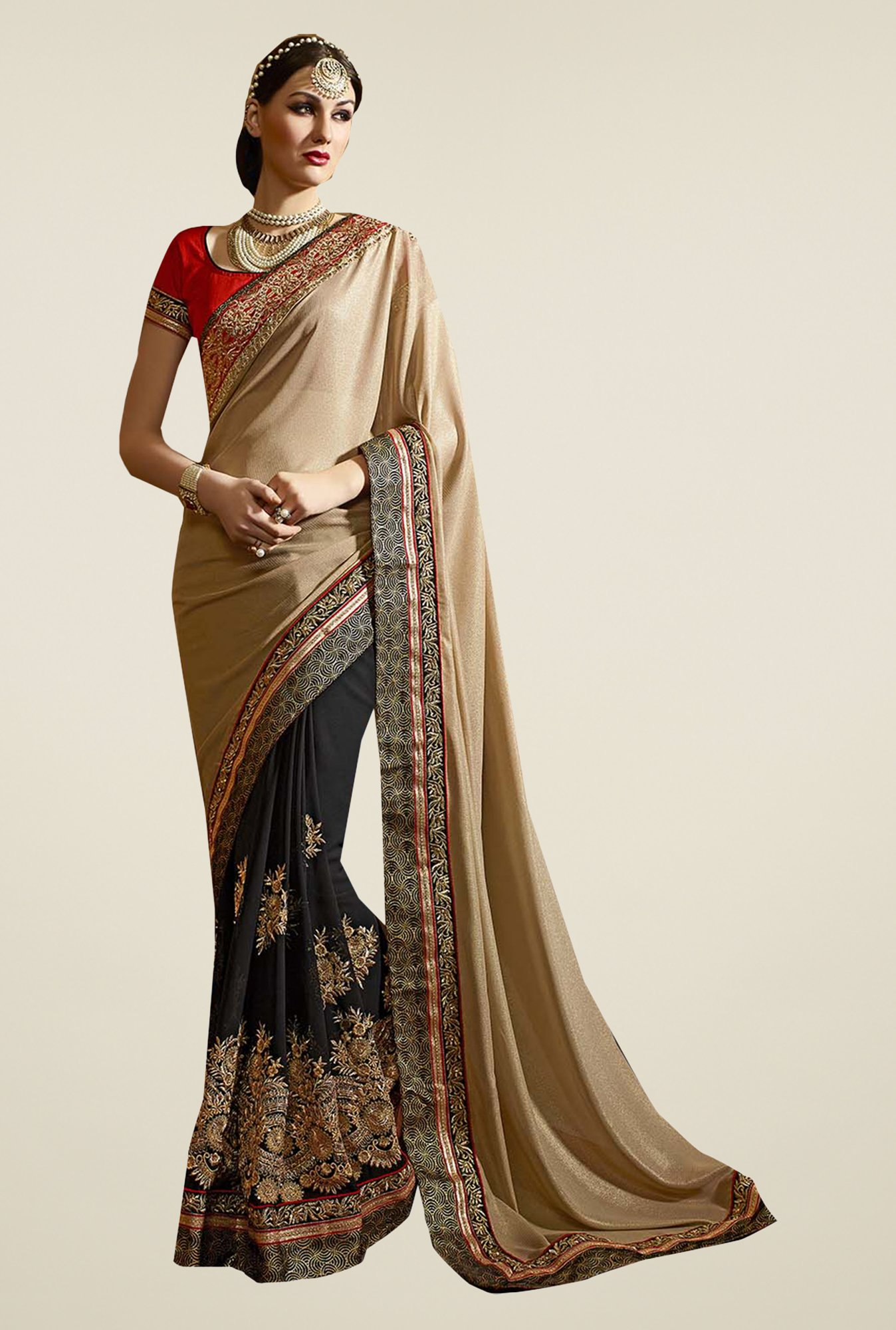 Ishin Black & Beige Faux Georgette & Satin Saree
