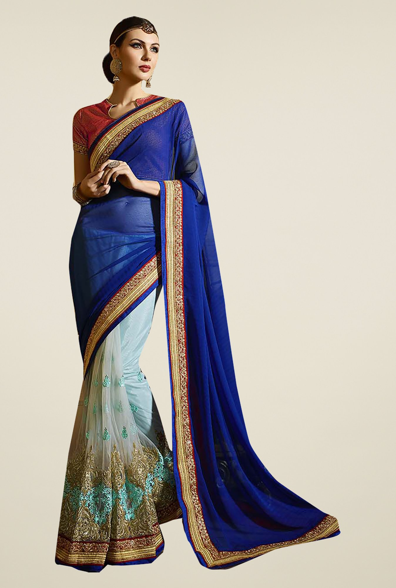 Ishin Blue Faux Georgette & Net Saree