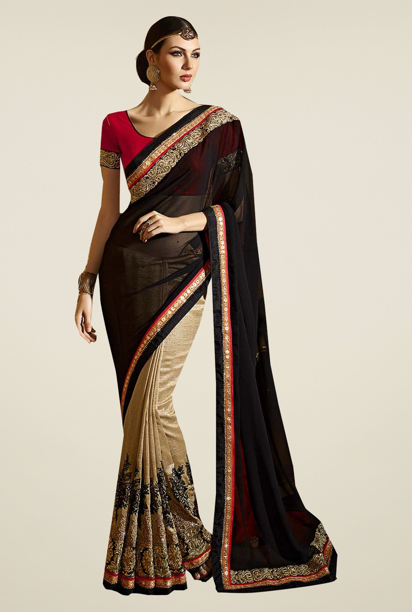 Ishin Beige & Black Faux Georgette Embroidered Saree