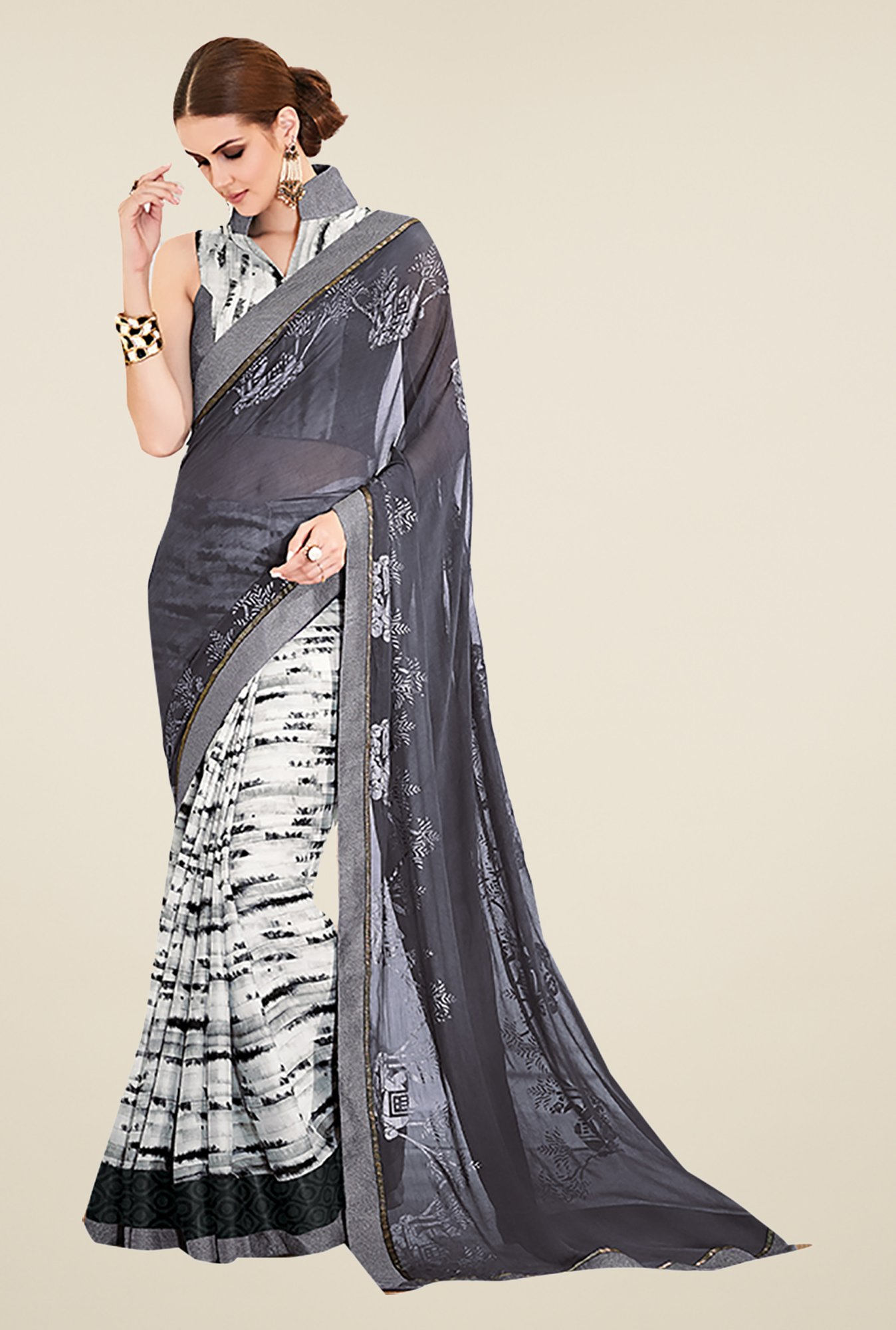Ishin Grey & White Georgette & Crepe Printed Saree