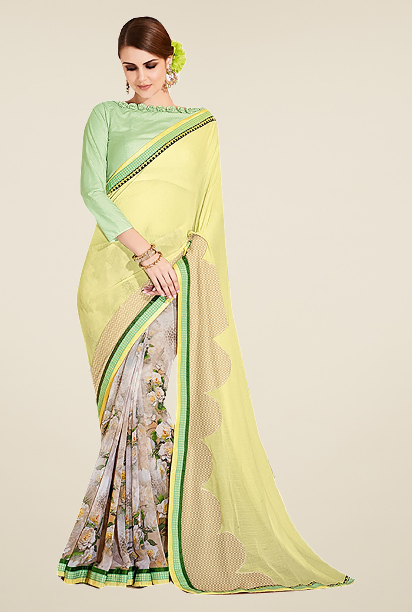 Ishin Yellow & Beige Faux Georgette Floral Print Saree