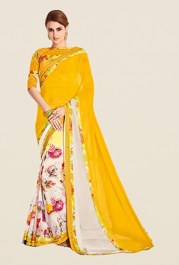 Ishin Yellow & White Faux Georgette Floral Print Saree