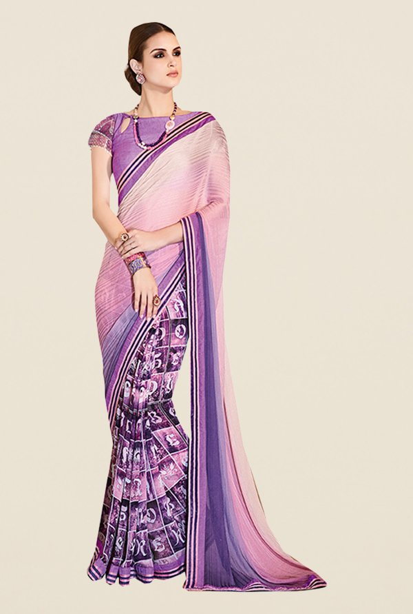 Ishin Purple Satin & Georgette Printed Saree