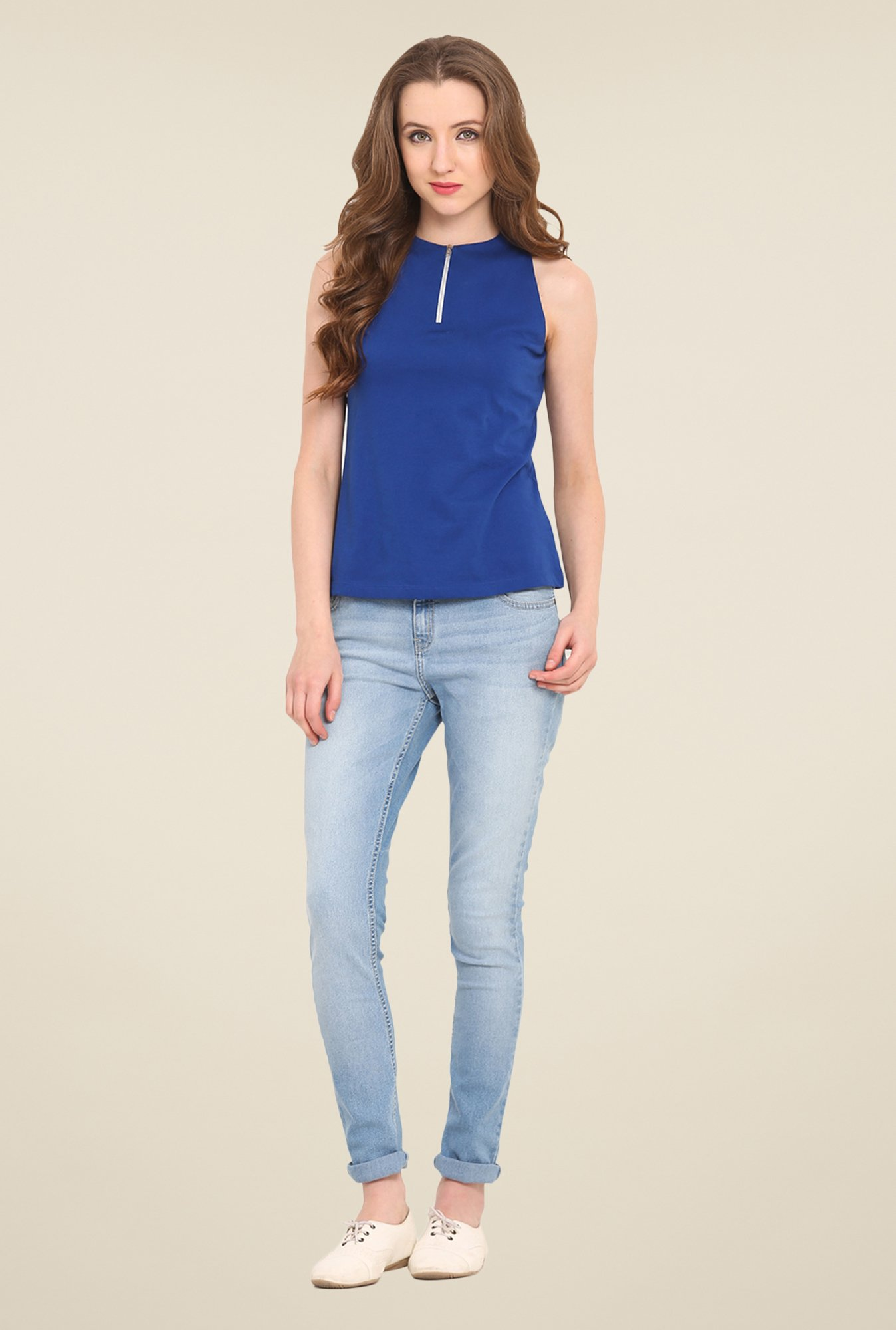 Saiesta Blue Solid Top