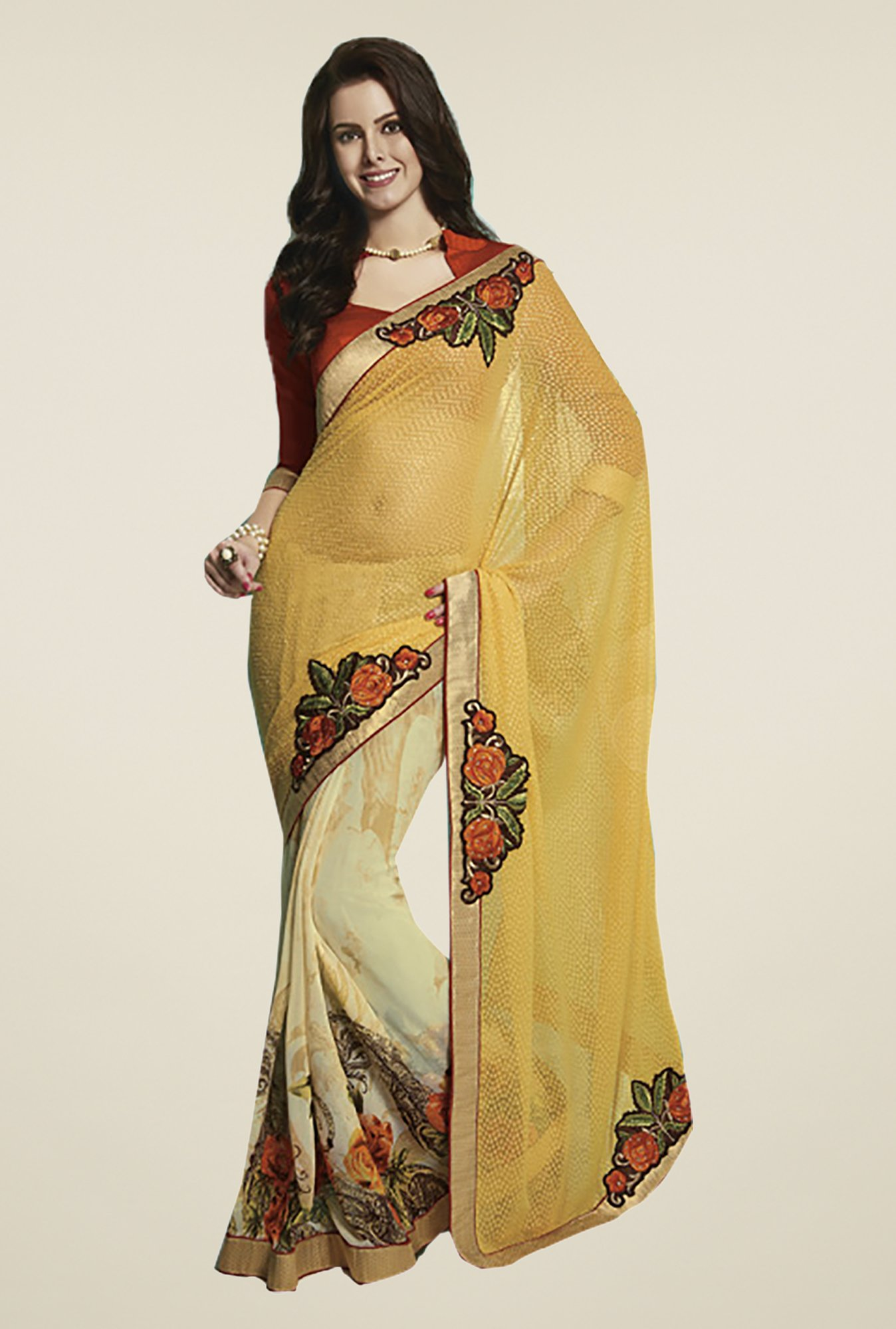 Ishin Beige & Yellow Faux Georgette & Chiffon Saree