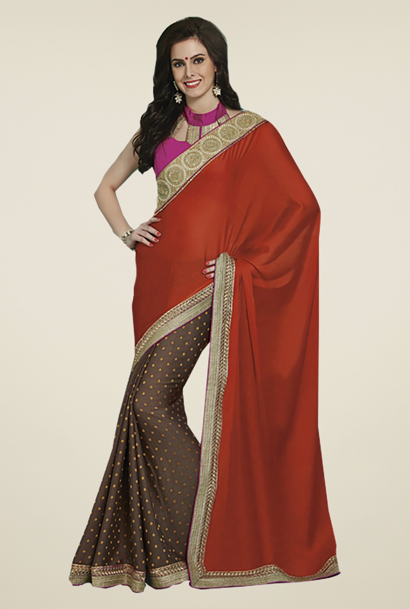 Ishin Brown & Orange Faux Georgette & Chiffon Saree