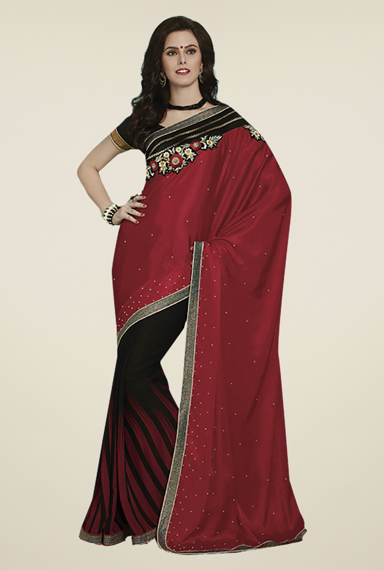 Ishin Red & Black Faux Georgette & Chiffon Saree