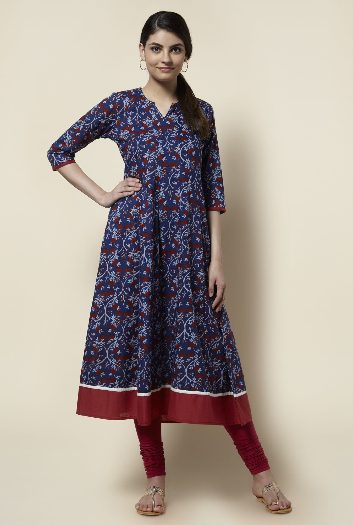 Zudio Navy Printed Anarkali Kurta