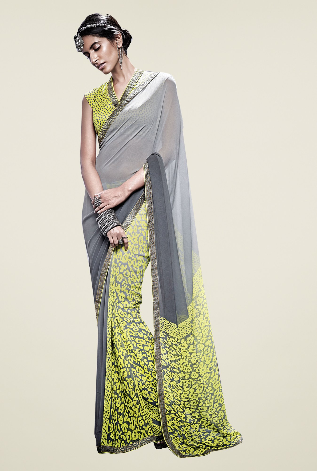 Ishin Grey & Yellow Faux Georgette Printed Saree