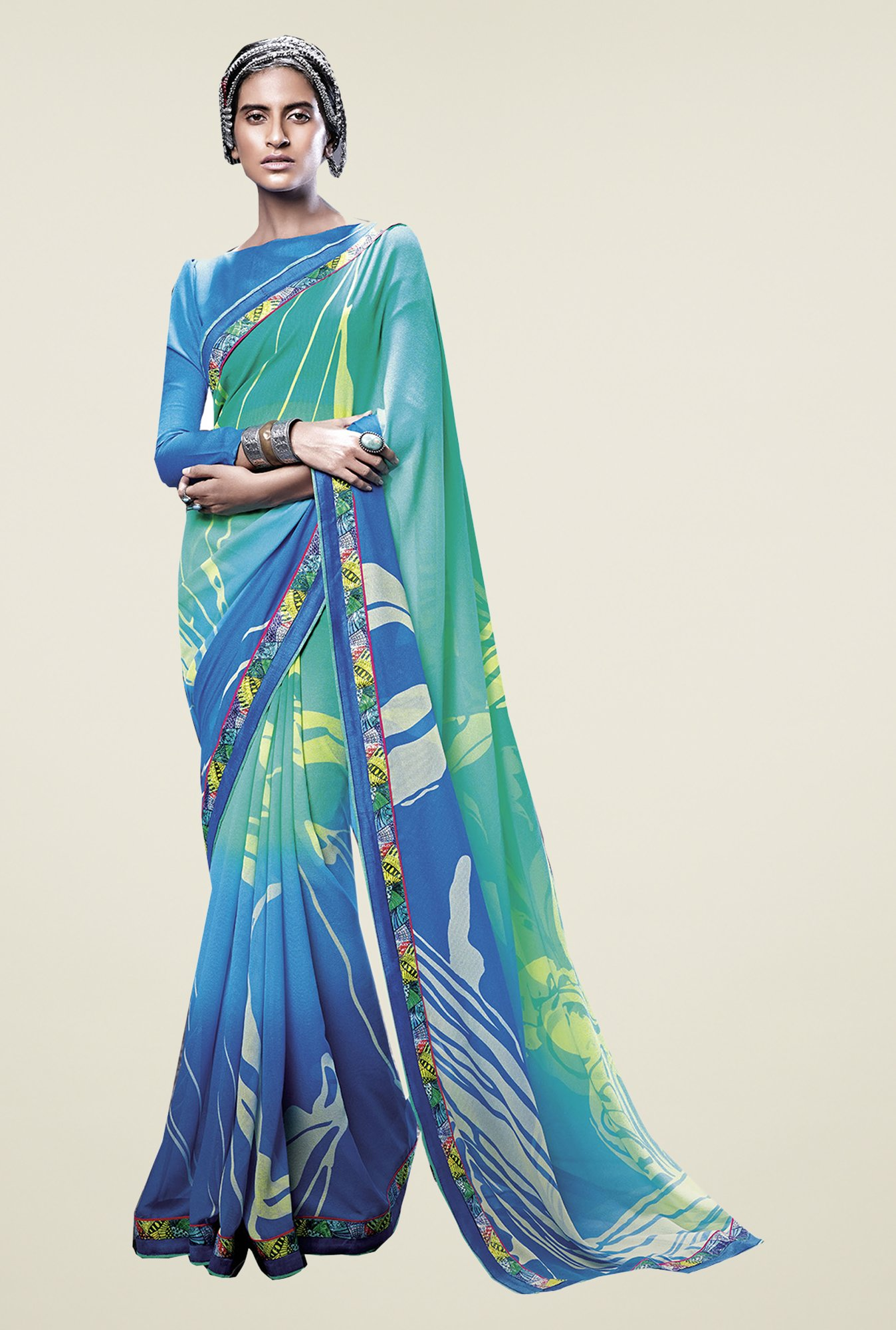Ishin Blue & Green Faux Georgette Printed Saree
