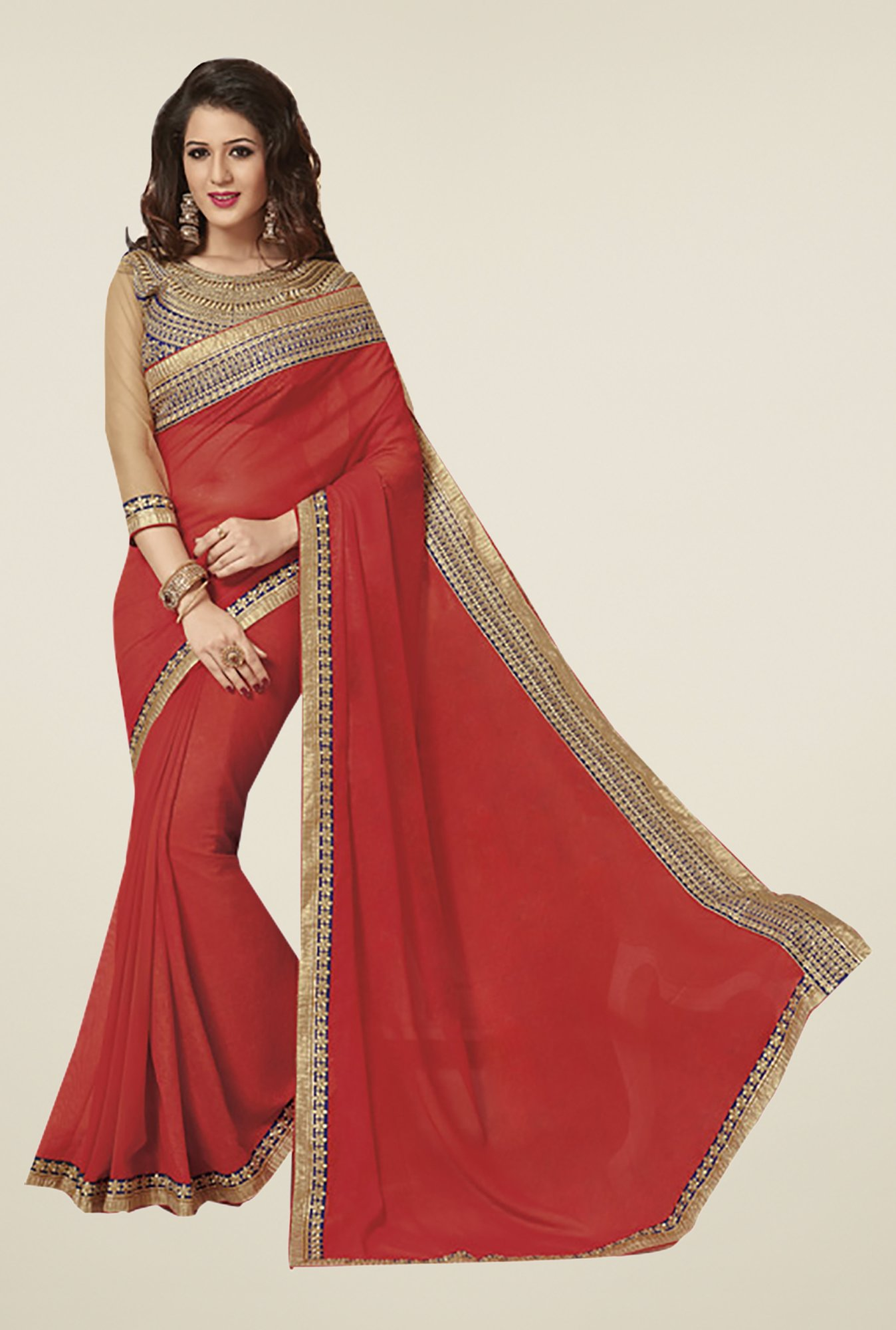 Ishin Red Faux Georgette & Chiffon Saree