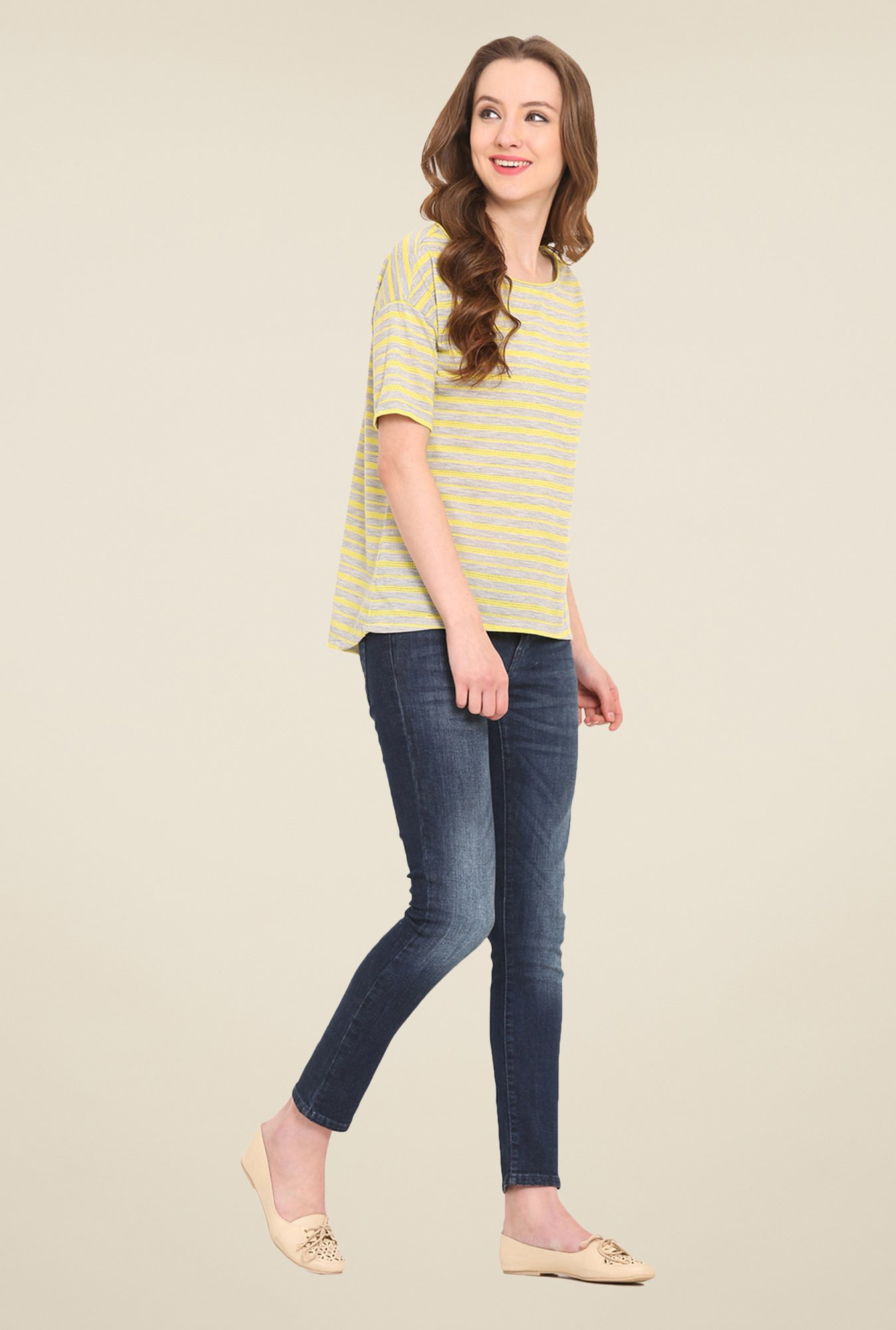 Saiesta Grey Striped Top