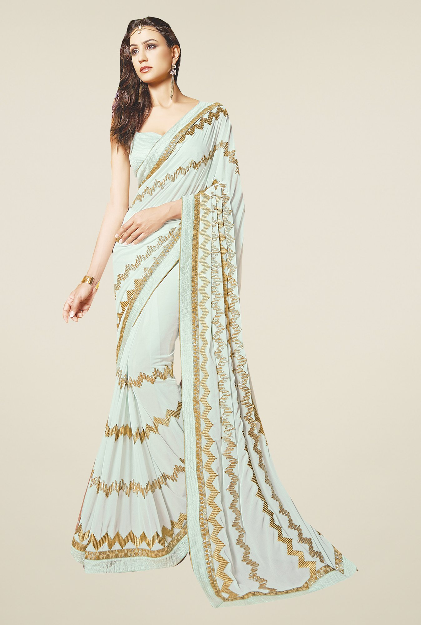 Ishin Cream Faux Georgette Saree