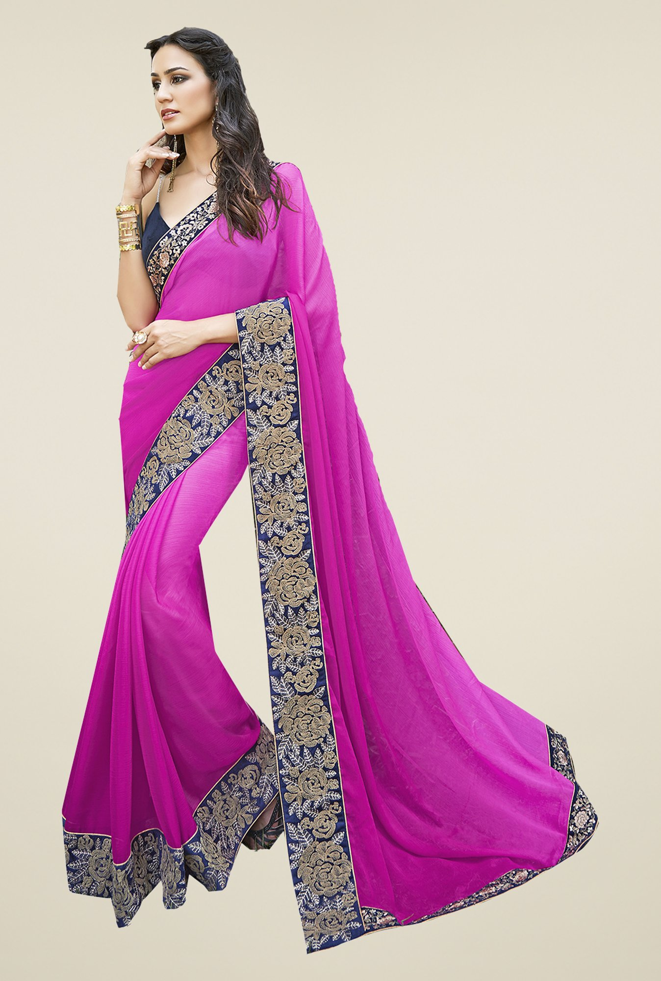 Ishin Pink Chiffon Embroidered Saree
